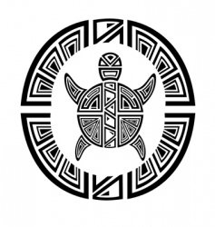 tribal turtle wheel tattoo style vector image