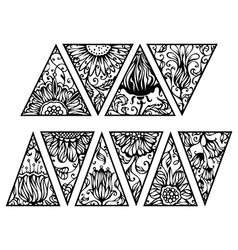 Hand drawn floral triangles vector