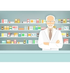 Flat style aged pharmacist at pharmacy opposite vector