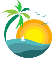 Palm tree with sunset vector