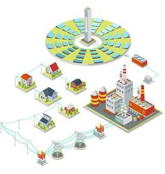 Solar power system 3d isometric electricity vector