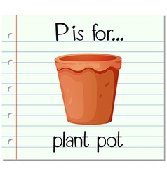 Flashcard letter p is for plant pot vector
