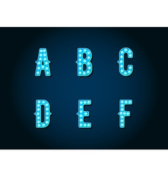 Casino or broadway signs style blue light bulb vector