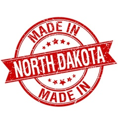 Made in north dakota red round vintage stamp vector