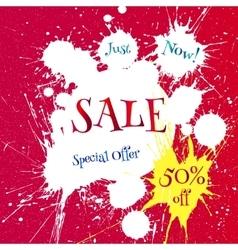 White blot with sale tag over bright red vector