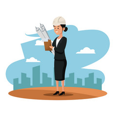 Avatar woman work blueprint suit and urban vector