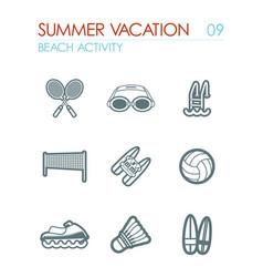 Beach activity icon set summer vacation vector