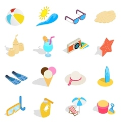 Beach icons set isometric 3d style vector image vector image
