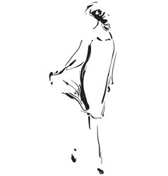 Black and white fashion model in sketch style vector