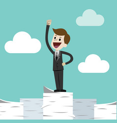 business man standing on a huge tower stack of vector image