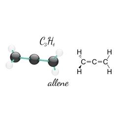 C3h4 allene molecule vector