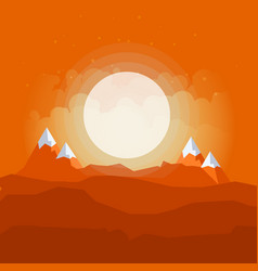 cartoon desert landscape with hills and mountains vector image