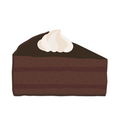 chocolate cake with whipped cream in flat style vector image vector image