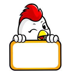 Cock character is holding a board of both hands vector