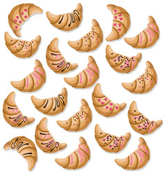 Croissant pattern fresh dessert chocolate and vector