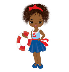 Cute little african american girl with buoy vector