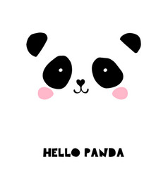 Cute panda bear black and white vector