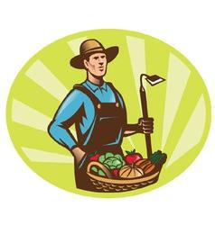 farmer harvest icon vector image