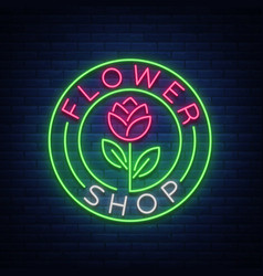 flower shop logo neon sign vector image vector image