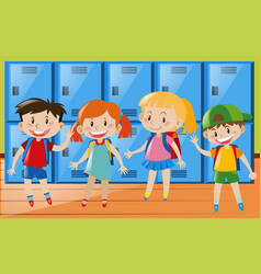 four children in locker room vector image