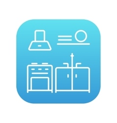 Kitchen interior line icon vector image