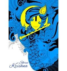 Lord Krishana in Happy Janmashtami vector image vector image