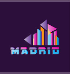 madrid logo design with caption capital of vector image vector image