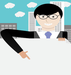 Man in glasses pointing to blank banner vector image