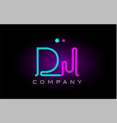 Neon lights alphabet dj d j letter logo icon vector