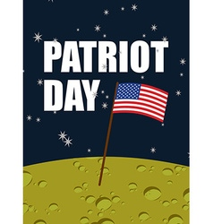 Patriot day American flag on moon surface Flag USA vector image