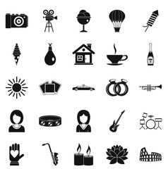Photo icons set simple style vector