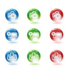 Photo video cameras and printer icons vector