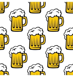 Seamless pattern of tankards with frothy beer vector