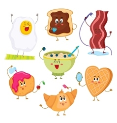 Set of cute and funny cartoon breakfast characters vector