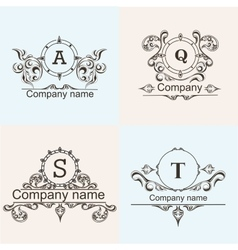 Set ornamental company logos vector image vector image