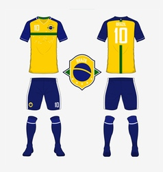 Soccer kit football jersey template for Brazil vector image