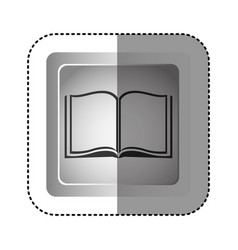 sticker grayscale square frame with opened book vector image