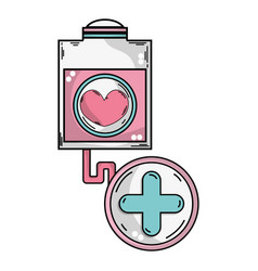 transfusion tool with cross clinical symbol vector image