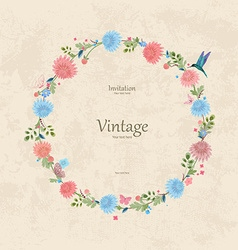 vintage wreath with lovely chrysanthemum for your vector image
