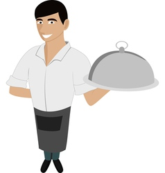 waiter with the dish vector image vector image