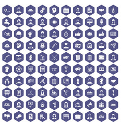 100 team work icons hexagon purple vector image vector image