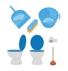 Toilet bowl paper plunger dustpanbrushbucket vector