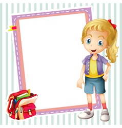 girl school bag and white board vector image