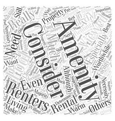 Consider the amenities word cloud concept vector
