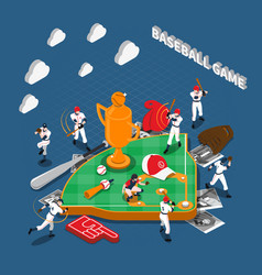 baseball game isometric composition vector image