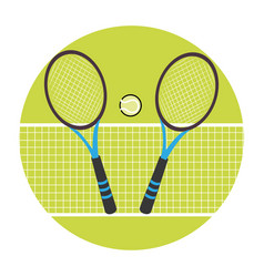 Color circular frame with ball and net and tennis vector