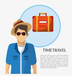 Time travel man tourist sunglasses hat suitcase vector