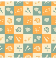 Seamless summer pattern with seashells vector