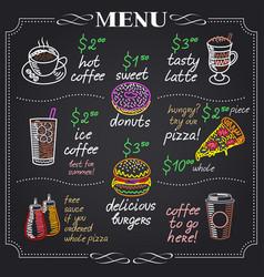 cafe menu design on chalkboard vector image