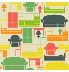Seamless pattern with furniture vector